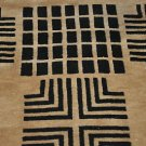 NEW MODERN 5x8 INDO NEPAL BLACK BEIGE WOOL AREA RUG