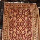 8x10 FINE WOOL HANDMADE RUG RED GREEN BLACK IVORY GOLD