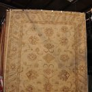 8x10 HANDMADE RUG IVORY GOLD VEGETABLE DYE CHOBI MUTED