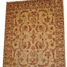 8x10 WOOL HANDMADE RUG IVORY GOLD RUST GRAY MUTED CHOBI