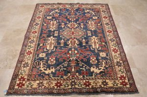 5x7 AREA RUG WOOL HAND KNOTTED TRIBAL KAZAK BLUE IVORY