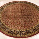 8 FOOT ROUND RUG HANDMADE WOOL RED BLACK MASTERPIECE