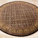 8 FOOT ROUND RUG HANDMADE WOOL BLACK GOLD MASTERPIECE