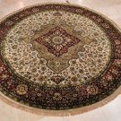 8 FOOT ROUND RUG WOOL SILK GREEN IVORY RED MASTERPIECE