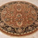 8 FOOT ROUND AREA RUG HANDMADE TUFTED WOOL RUST BLACK