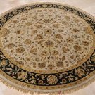 8 FOOT ROUND AREA RUG HANDMADE TUFTED WOOL SILVER BLACK