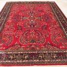 9x12 WOOL RUG HANDMADE PERSIAN SAROUK RED NAVY BLUE