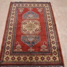 3x5 WOOL AREA RUG TRIBAL HANDMADE RED IVORY BLUE KAZAK