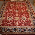 10x14 WOOL AREA RUG PERSIAN KASHAN HANDMADE RED BLUE