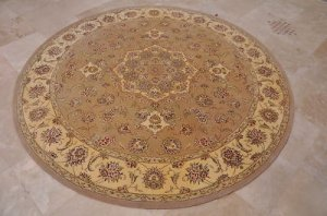 8 FOOT ROUND AREA RUG HAND TUFTED SILK WOOL BEIGE IVORY