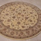 8 FOOT ROUND AREA RUG HANDTUFTED SILK WOOL YELLOW GREEN