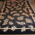 10x14 WOOL SILK AREA RUG PERSIAN FLORAL BLACK OVERSIZE