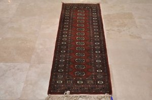 2.5x6 HANDMADE RUNNER WOOL BOKHARA RED TRIBAL SOFT FINE