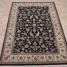 NEW 4x6 WOOL & SILK HANDMADE AREA RUG FINE BLACK IVORY