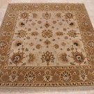 6 FOOT SQUARE AREA RUG HAND KNOTTED BEIGE BROWN JAIPUR