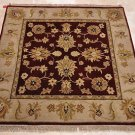 4 FOOT SQUARE AREA RUG HAND KNOTTED RED BEIGE JAIPUR