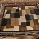 8x10 WOOL SILK RUG HANDMADE MODERN ABSTACT BLACK GOLD BROWN IVORY GRAY SOFT PILE