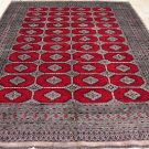 9x12 BOKHARA RUG TRIBAL HANDMADE WOOL BRIGHT RED GRAY