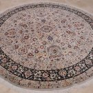 9 FT ROUND AREA RUG FINE BEIGE NAVY PERSIAN DINING ROOM