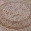 9 FT ROUND WOOL & SILK AREA RUG ORIENTAL HANDMADE IVORY