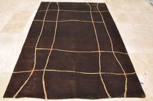 6x9 WOOL RUG CONTEMPORARY HANDMADE BROWN INDO NEPAL