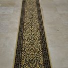 "26"" WIDE 15 FT RUNNER IVORY BLACK GREEN PERSIAN BOUND"