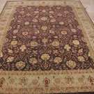 8x10 WOOL HAND KNOTTED AREA RUG PLUM IVORY MASTERPIECE