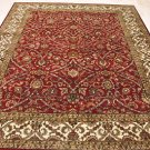 8x10 WOOL HAND KNOTTED AREA RUG RED IVORY MASTERPIECE