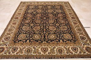8x10 WOOL HANDMADE AREA RUG BLACK IVORY MASTERPIECE