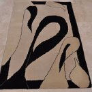4x6 WOOL AREA RUG MODERN IVORY BLACK HAND MADE TUFTED