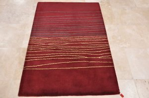 4x6 WOOL AREA RUG MODERN DARK RED HAND MADE TUFTED