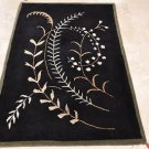 4x6 WOOL AREA RUG MODERN BLACK GREEN HAND MADE TUFTED
