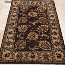 4x6 WOOL AREA RUG PERSIAN PLUM BEIGE HAND MADE TUFTED