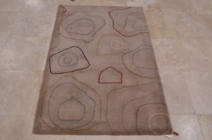 4x6 WOOL AREA RUG MODERN BEIGE HAND MADE TUFTED KITCHEN