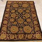 4x6 WOOL AREA RUG PERSIAN BLACK RED HAND MADE TUFTED