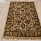 4x6 WOOL AREA RUG PERSIAN IVORY BROWN HAND MADE TUFTED