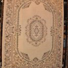 9x12 WOOL RUG AUBUSSON STYLE WOOL AREA RUG IVORY FLORAL