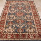 6x8 AREA RUG WOOL HAND KNOTTED TRIBAL KAZAK BLUE RED