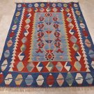 5x6 AREA RUG WOOL HAND KNOTTED KILIM RED WHITE BLUE