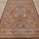6x9 AREA RUG HANDMADE FRENCH AUBUSSON IVORY BLUE GOLD