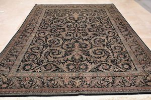 9x12 AREA RUG FINE PERSIAN HANDMADE FLORAL BLACK GREEN