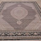 9x12 WOOL & SILK AREA RUG HANDMADE ORIENTAL BLACK IVORY