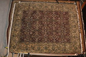 8x10 WOOL SILK RUG PERSIAN JAIPUR HANDMADE RED BEIGE