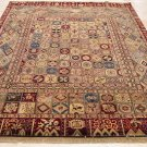 8x10 HANDMADE WOOL RUG PATCHWORK QUILT BEIGE BLUE RED
