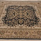 8x8 SQUARE WOOL RUG PERSIAN HANDMADE CHARCOAL LT CAMEL