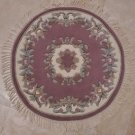 3x3 FOOT ROUND HANDMADE AREA RUG FRENCH AUBUSSON ROSE