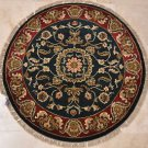 3 FOOT ROUND HANDMADE AREA RUG NAVY RED JAIPUR KNOTTED
