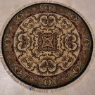 3 FOOT ROUND HANDMADE AREA RUG IVORY GOLD BLUE GRAY RED