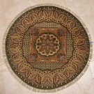 3x3 FOOT ROUND HANDMADE AREA RUG GOLD GREEN DOOR MAT