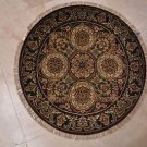 3x3 FOOT ROUND HANDMADE AREA RUG IVORY RED GREEN JAIPUR